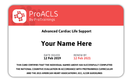 ACLS Certification Card