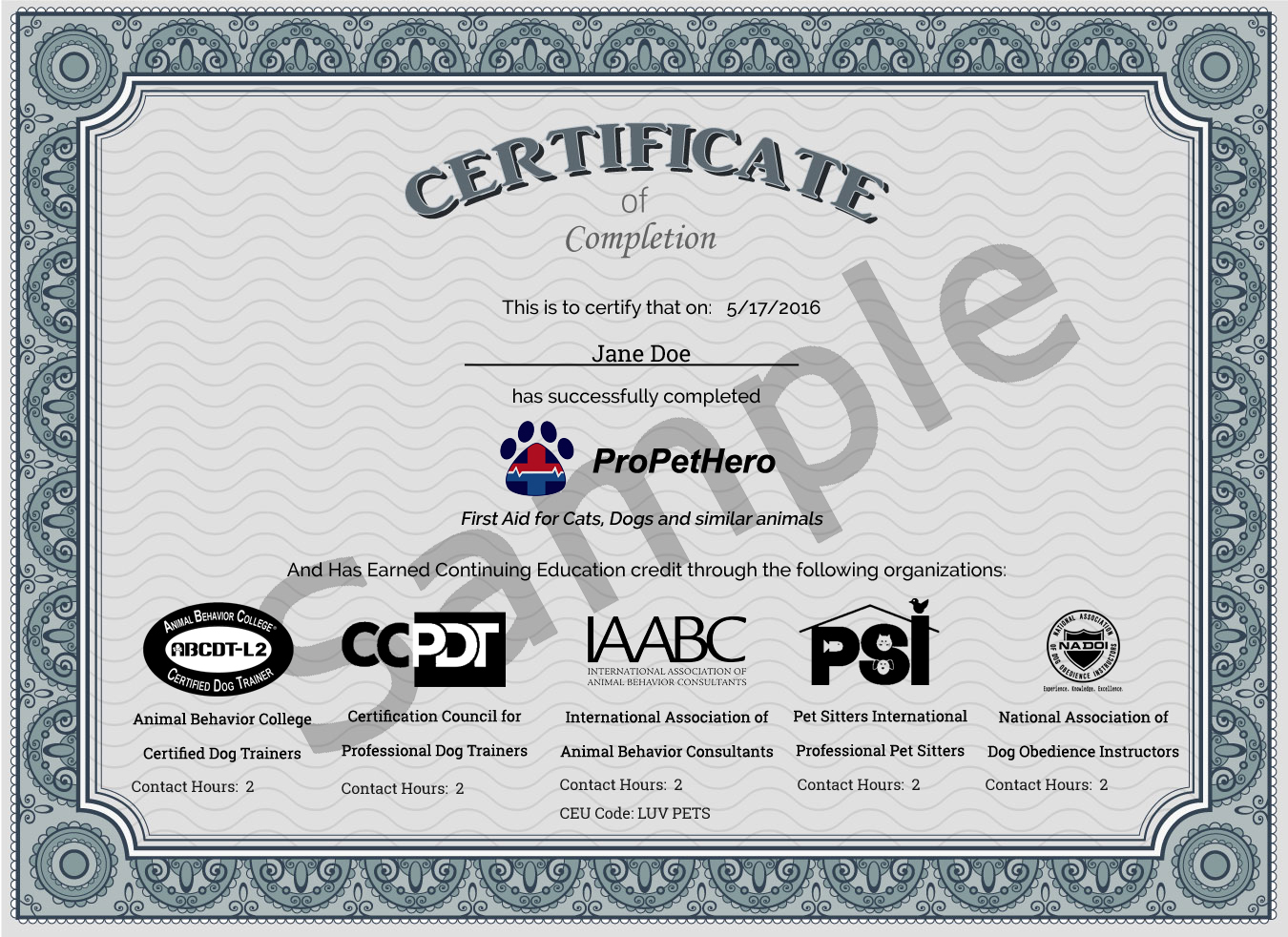 Pro Pet Hero continuing education credit certificate